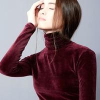 Turtlenec Pullovers Women's Shirts Long Sleeve Velvet fabric Folded Bottoming Shirts Winter Autumn Tee Shirt Tops AL27392