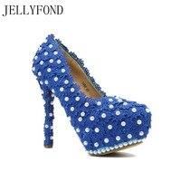 JELLYFOND 2017 Azul Elegante Laço das Pérolas de Casamento Das Mulheres Sapatos de Salto Alto Sapatos de Plataforma Bombas De Noiva Vestido de Festa À Noite Mulher