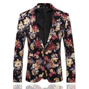 Image 3 - Trajes de fiesta florales para hombre, de dos piezas trajes de boda, trajes Vintage con estampado de flores, traje de boda Harajuku para hombre, ropa ajustada 2019