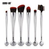MAANGE 6pcs High Grade Soft Headed Powder Gradient Green Shell Professional Soft Shadow Makeup Brush Kit