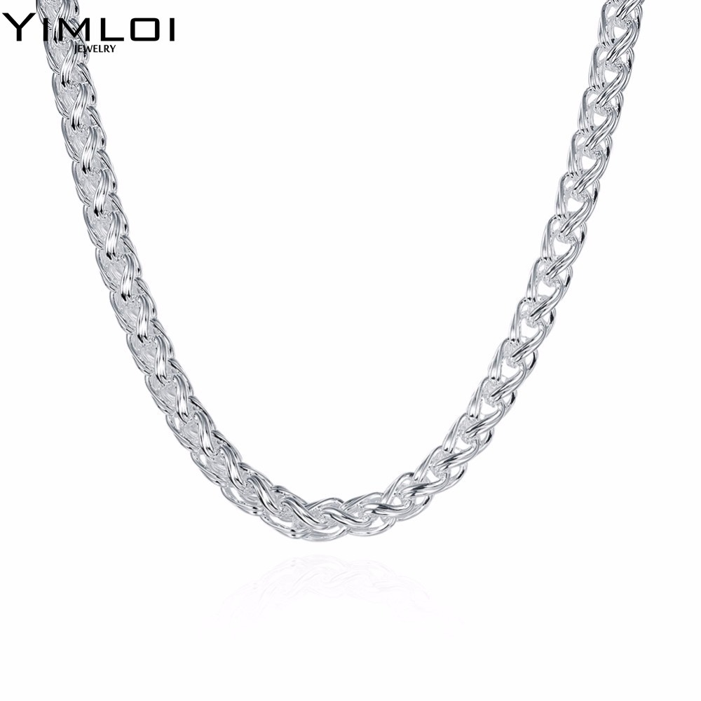 Punk Style Classic Silver Chain Necklace for Women & Men 925 Sterling Silver Choker Necklace Fine Jewelry Around His Neck 083