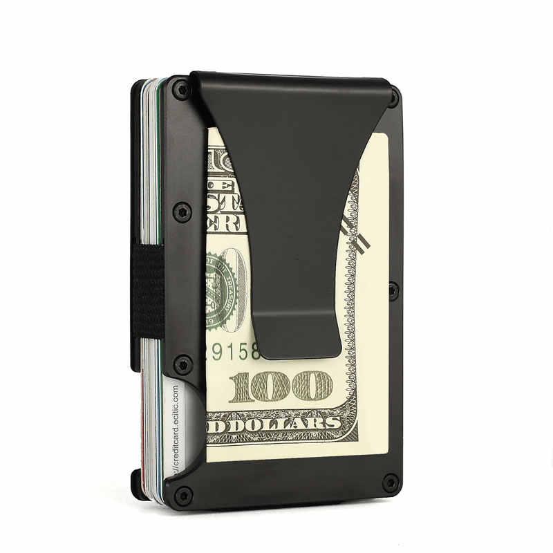 Men Aluminium Wallet RFID Blocking with Metal Money Clip Travel Wallet Minimalist Cardholder