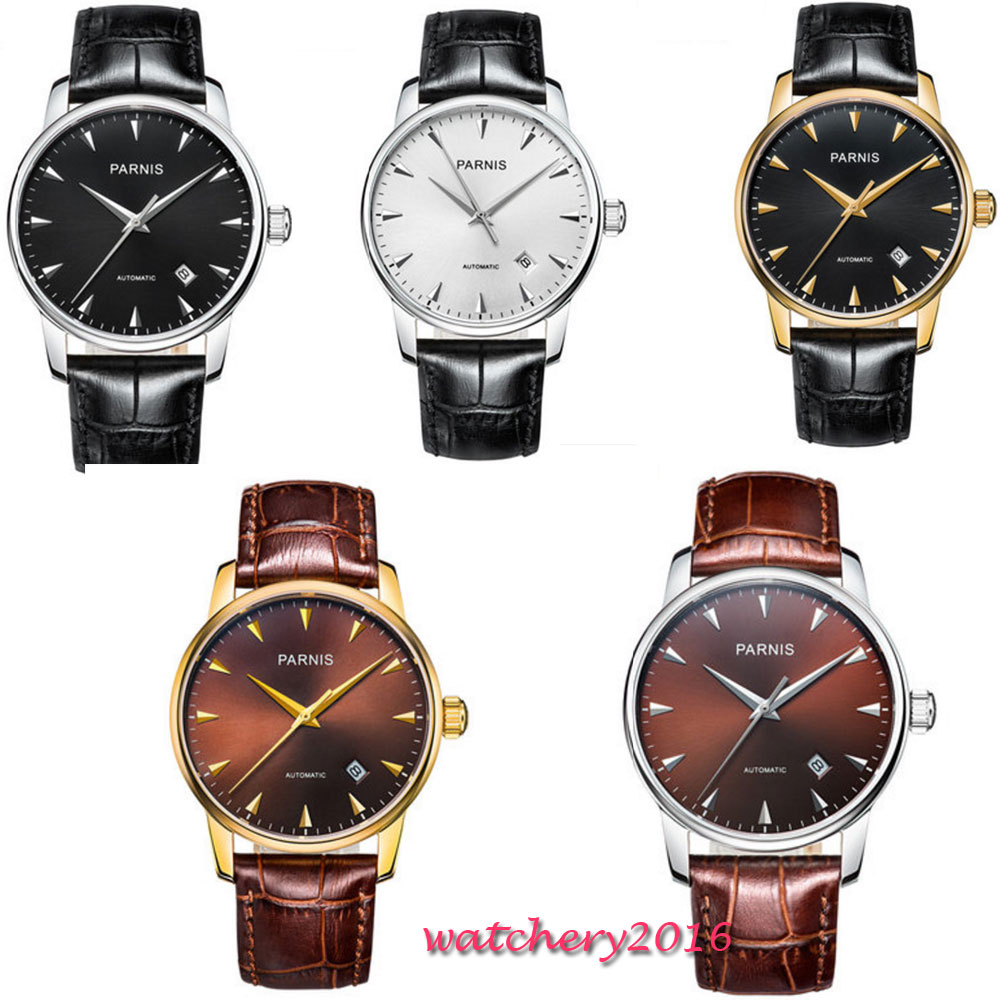 38mm Parnis Black White Brown Dial Sapphire Glass Date SS Case Romantic Sweet Miyota 8215 Automatic Movement men's Watch l120 romantic date