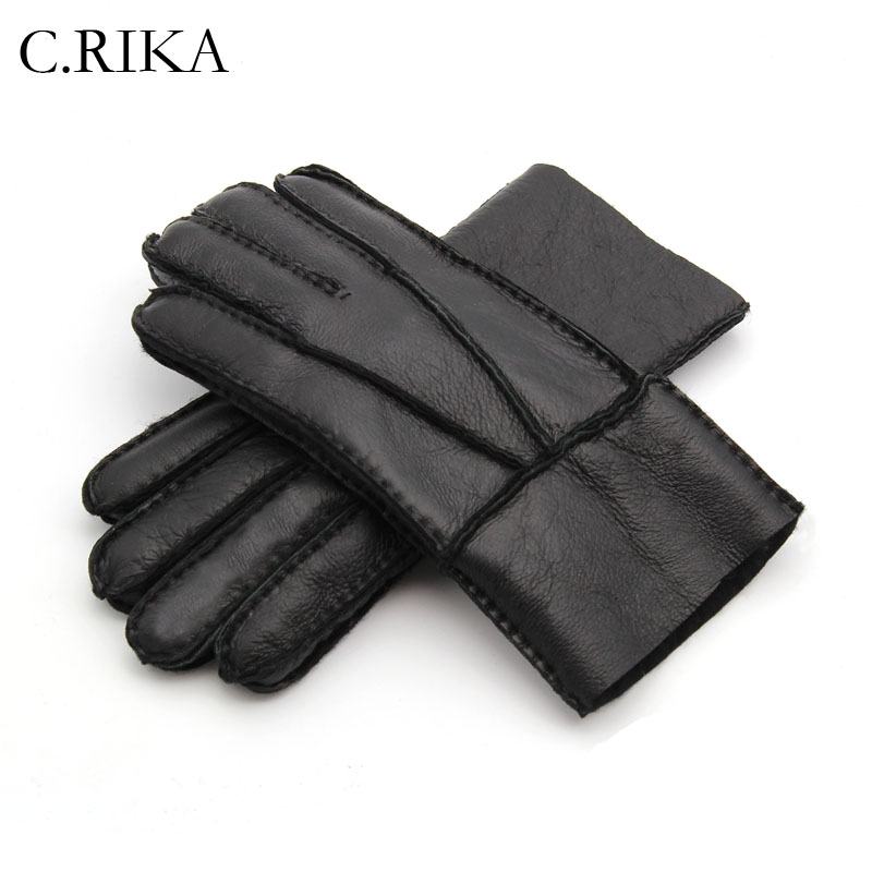 Warm Gloves Mitten Real-Sheepskin Winter Full-Finger Genuine-Leather New Men Cashmere-Fur title=