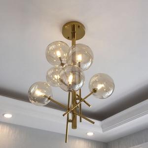 Image 5 - Modern personality magic beans glass pendant lamp designers tree branches glass balls Hanging lamp Modern light fixture