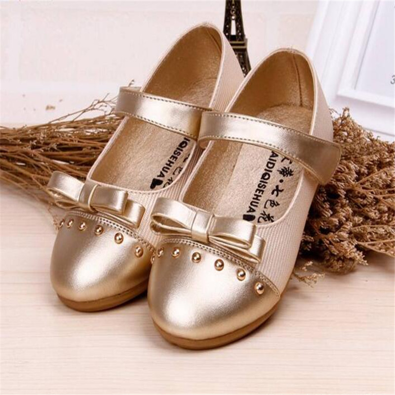 wedding party Girls shoes 2017 girls leather shoes princess kids Baby Children Summer Bowtie flower toddler student bow shoes