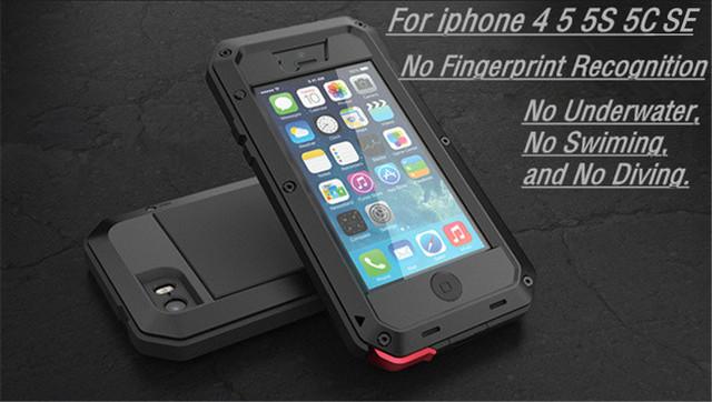 Para o iphone 5 SE a desgraça de Luxo armadura à prova de Choque Sujeira À Prova D' Água de Metal de Alumínio casos de telefone Para o iphone 5S SE 5SE 4 4S 5c + Temperado vidro