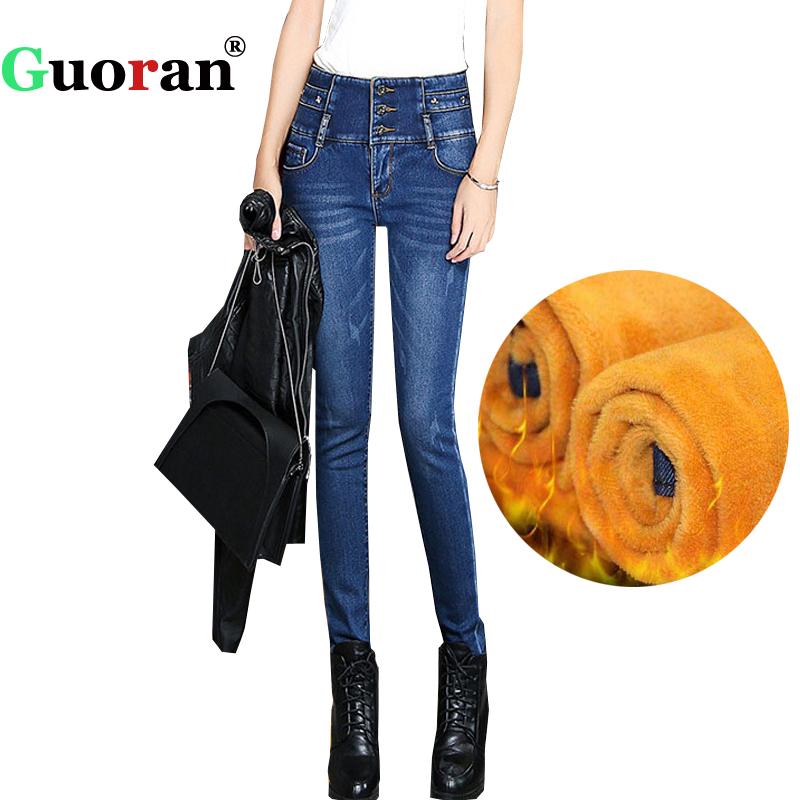 {Guoran} high Waist Women denim Blue Jeans Trousers Stretch Thicken Warm Fleece Winter Jeans Pencil Pants Plus Size 33 34 Pants new arrival winter fleece warm jeans high quality men blue denim plus size pants thicken jean slim trousers 100607