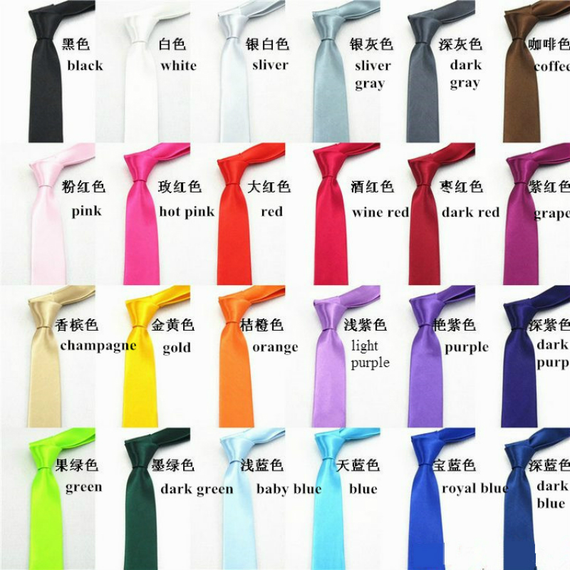 1 Piece Pcs Fashion Leisure Slim Narrow Arrow Necktie Skinny Solid Color Satin 5cm Brand Corbatas  Tie For Men Free Shipping