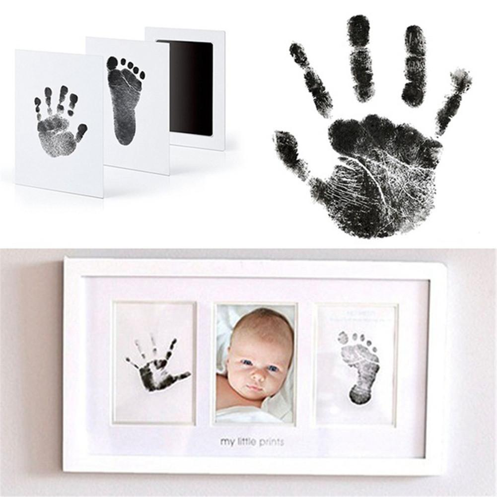 Footprint Imprint Kit Baby Ink Pad Storage Memento Ink Newborn Photo Frame Kits Baby Souvenir Drawer Inkless Handprint Casting