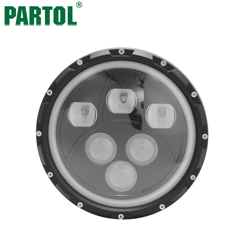 Partol 7 60W LED Car Headlight With DRL Angel Eye Projector Headlamp For Harley FLD Trike Touring Jeep Wrangler JK 2 Door 2007 esprit esprit esrg 91484 a
