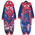 2016 Novos Meninos macacão Crianças dorminhoco cobertor Spiderman Crianças pijama sleepwear/robe/traje macacão com capuz macacão bodysuit