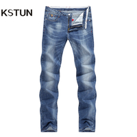 KSTUN Men's Summer Jeans Light Blue High Elasticity Soft Fashion Pockets Designer Straight Slim Business Casual Male Denim Pants 21