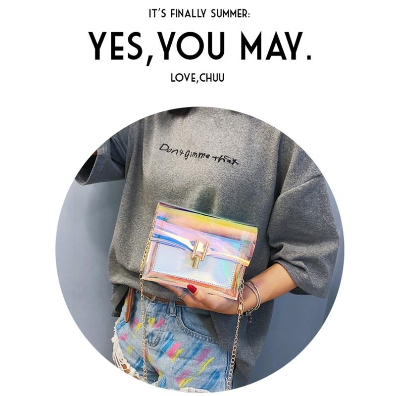 JIAOO Laser Transparent Bags Fashion Women Crossbody Bags for Women Korean Style Shoulder Bag Messenger PVC Waterproof Beach Bag 17