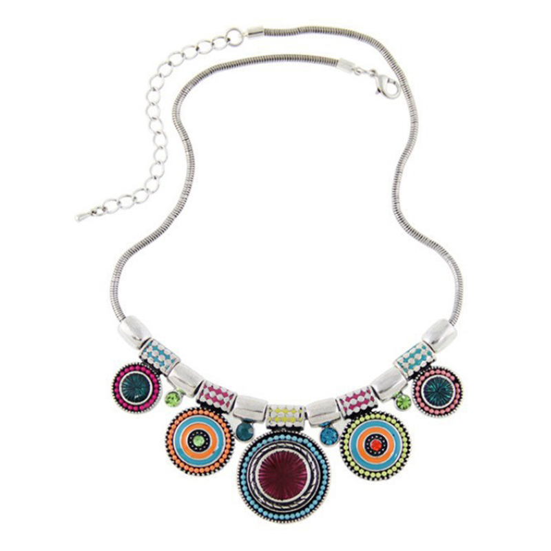 Vintage Silver Choker Necklace Ethnic Collares Bead Pendant Statement Necklace For Women Jewelry Ожерелье
