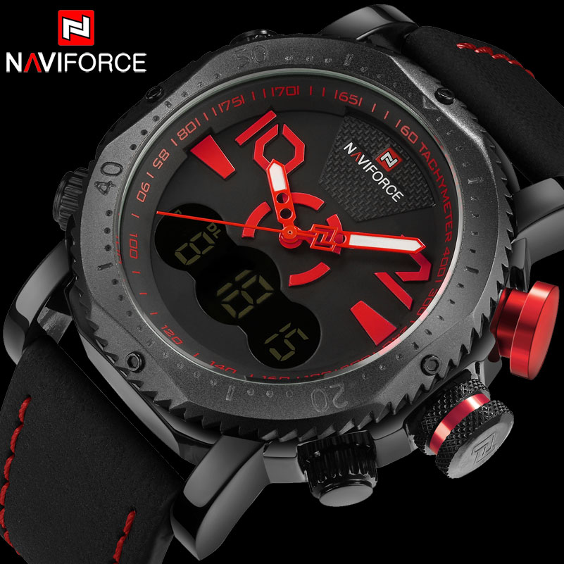 NAVIFORCE Brand Men Sport Watch Dual Display Digital Watch Leather Quartz Watch Red 30M Waterproof Wristwatches Reloj Hombre я immersive digital art 2018 02 10t19 30