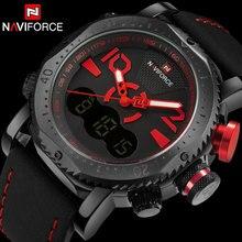 NAVIFORCE men sport watch brand dual display  digital watch leather quartz watch red 30M waterproof wristwatches reloj hombre