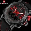 NAVIFORCE men спортивные часы марка двойной дисплей цифровые часы кожа кварцевые часы красный 30 М водонепроницаемый наручные часы reloj hombre