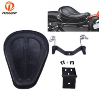 POSSBAY Motorcycle Seat Cafe Racer Seat Cover Motocross Leather Seat + Brackets Spring for Harley Sportster XL1200 883 48