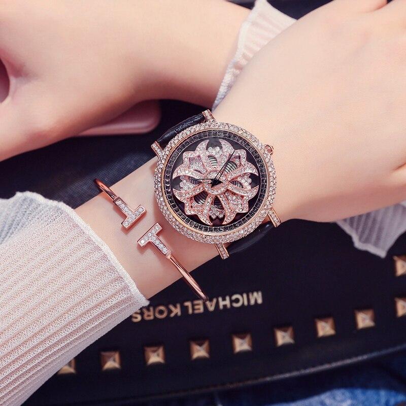 Diamant stein damen uhr große zifferblatt quarzuhr wasserdicht mode glänzende muster weiblichen uhr mit leder armband - 2