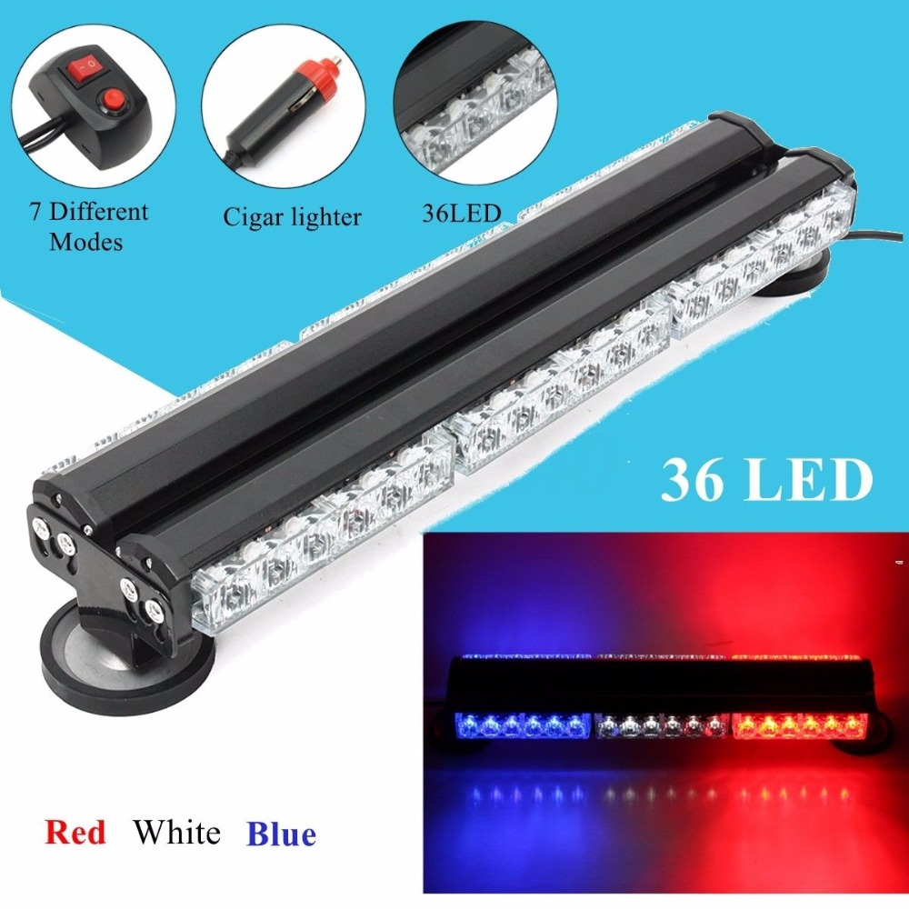 CYAN SOIL BAY 36 LED Car Truck Police Emergency Strobe Light Bar Warning Traffic Advisor Flash Flashing Roof Lamp Blue White Red