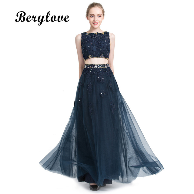 BeryLove Dark Navy Blue Two Pieces Evening Dresses 2018 Lace Evening Gowns  Long Prom Dresses Formal Evening Dresses Party Gown 69057396b2f6