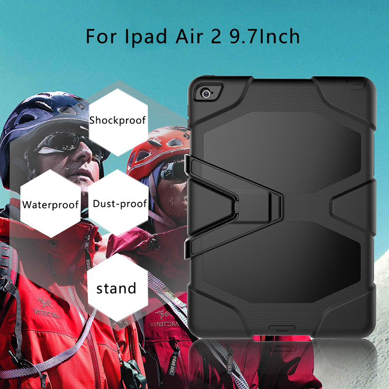 Heavy Duty Silicone Case For Ipad Air 2 9.7 Rugged Shockproof Drop Resistance With Kickstand Cover For ipad Air 2 Tablet Case case for apple ipad pro plus 12 9 tablet heavy duty rugged impact hybrid case kickstand protective cover for ipad pro 12 9