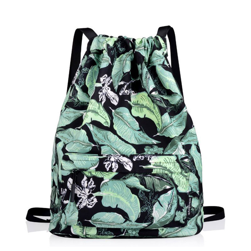 Unisex backpack female men s backpack Preppy Teenager Satchel Print Flower Drawstring Bundle Pocket font b