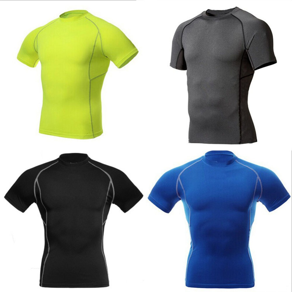 Hot Sale Men Compression Wear Under Base Layer Tops Tight Short Sleeve Sports T-Shirts