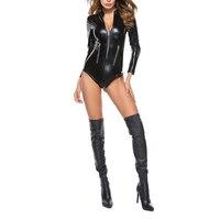Сексуальная искусственная кожа, латекс для женщин боди ПВХ эротический двойной молнии латексный костюм костюмы без рукавов высокий комбин...
