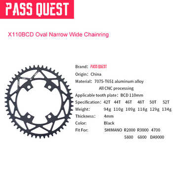 PASS QUEST Oval Narrow Wide Chainring 110BCD Road Bike Chain Wheel 42T 44T 46T 48T 50T 52T For R2000 R3000 DA9000 4700 5800 6800