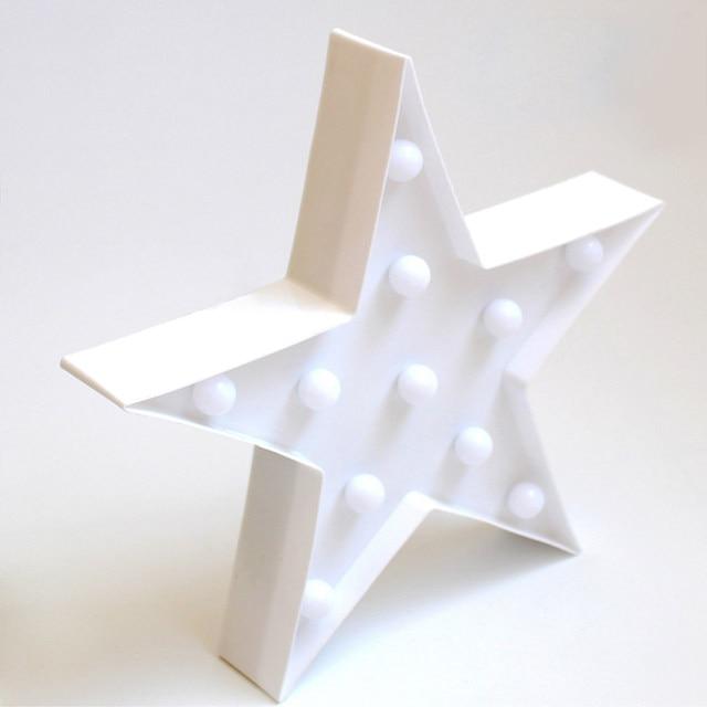letras decorativas luz estrella forma plstico marquee luz batera operado led letrero para el hogar navidad decoracin - Letras Decorativas