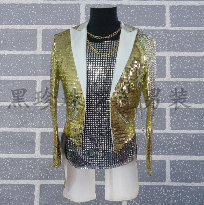 Gold paillette men tuxedo suits designs homme terno stage costumes for singers men sequin blazer dance clothes star style