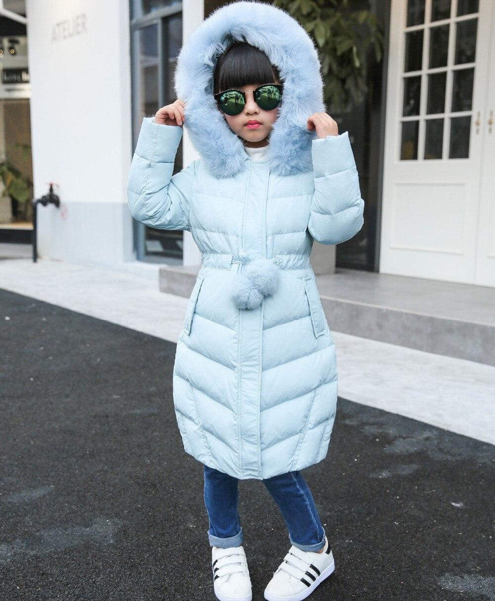 New 2017 girl jacket fur hooded long coat kids big girl thick overcoat casual fashion outwear solid classic clohing girl garmet christmas long hooded jacket girl 90