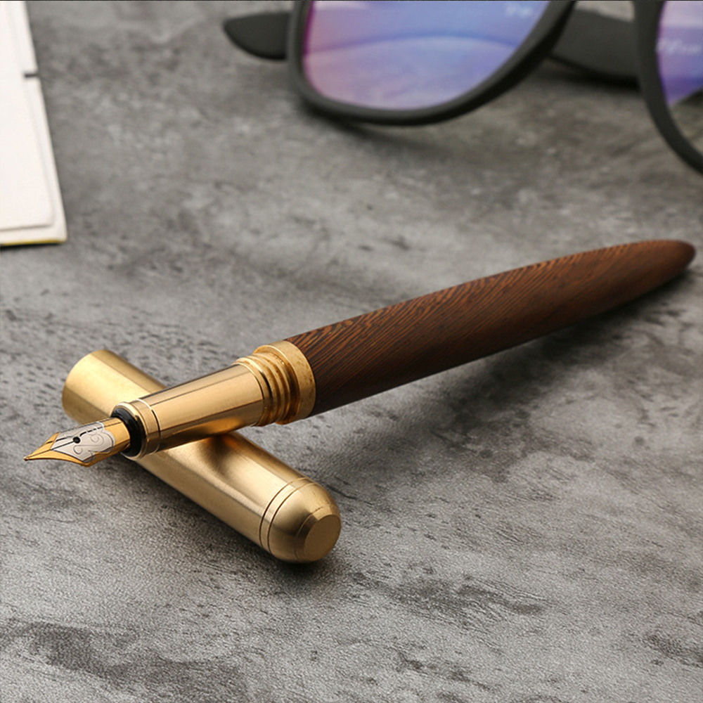 High Quality vintage Fountain Pen Rosewood and Brass Pen gift sign pen Pure Copper Pen for travel, office, business