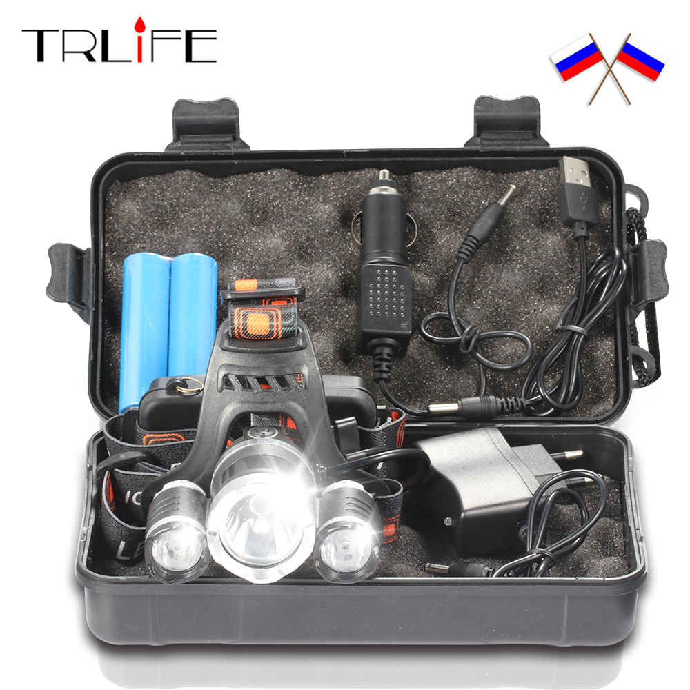 15000Lm T6 + 2R5 LED Headlight Headlamp Head Light 4Mode Torch + 2x18650 Baterai + EU / US Charger mobil untuk Lampu memancing