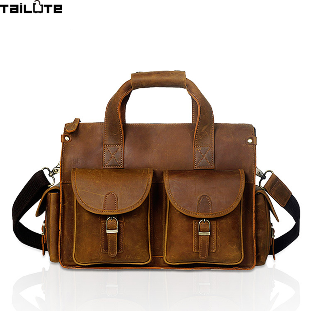 TAILUTE New Fashion Genuine Leather Men Bag Famous Brand Shoulder Bag Messenger Bags Causal Handbag Laptop Briefcase Male 2017 sexy one piece swimsuit women swimwear trikini bathing suit push up monokini padded maillot de bain femme halter beachwear d261