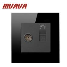 цены Mvava Telephone and Television Socket,110-250V EU UK standard Black Crystal Glass Panel Wall TEL TV Socket, Free Shipping