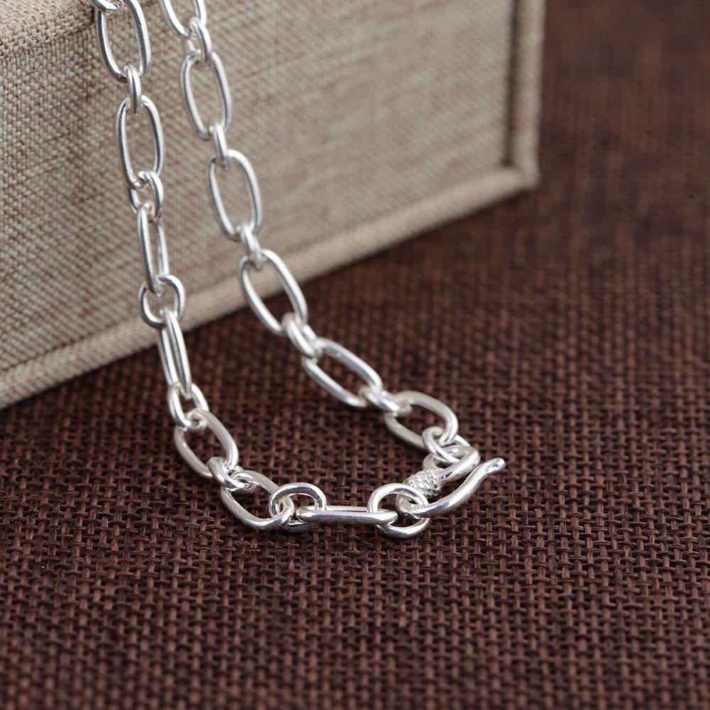 925 chaîne à maillons en argent collier pour femmes accessoires largeur 5mm 50 cm à 80 cm S925 Thai solide argent fabrication de bijoux colliers - 3