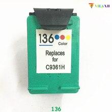 1 Pcs  Compatible Ink Cartridges For HP 136 Officejet Psc1510 photosmart 7830 2570 2573 C3183 D5163 7800 Printer