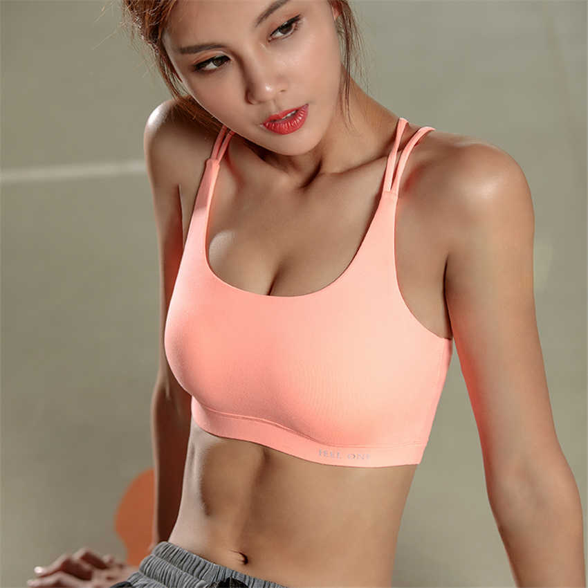 f4a94ecf5b ... High Quality Womens Pink Sports Bra High Impact Cross Back Padded Wireless  Workout Activewear Running Yoga ...