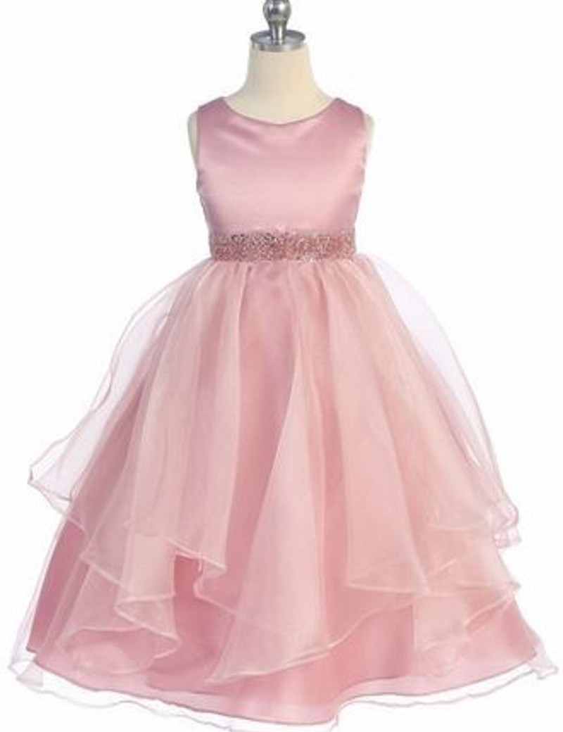 Cute   Girls     Dresses   Scoop A-Line   Flower     Girls     Dresses   Floor Length Ribbon Sash with Beadings Organza Little   Girl   Party Gowns