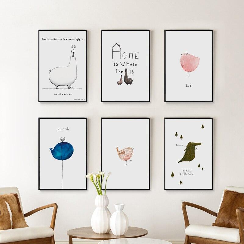 Elegantní poezie Kawaii Nordic Crayon Animals A4 Canvas Painting Umělecká reprodukce Plakáty Picture Wall Dětská ložnice Home Decor BA006