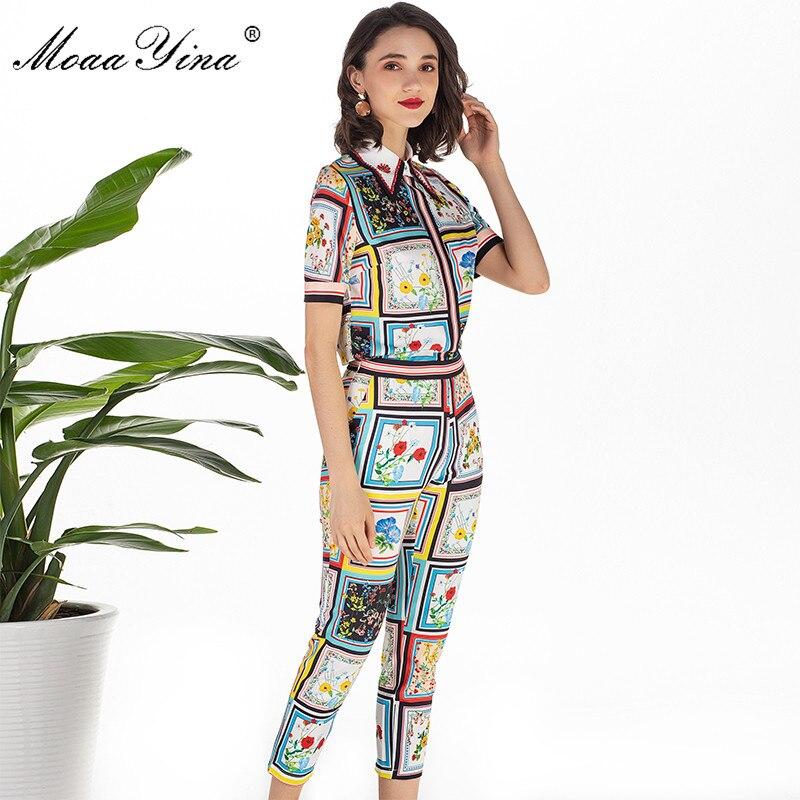 Image 5 - MoaaYina модельер летний комплект Для женщин с коротким рукавом отложной воротник Бисер Цветочный принт элегантные топы + 3/4 карандаш Штаны комплектСпортивные костюмы   -