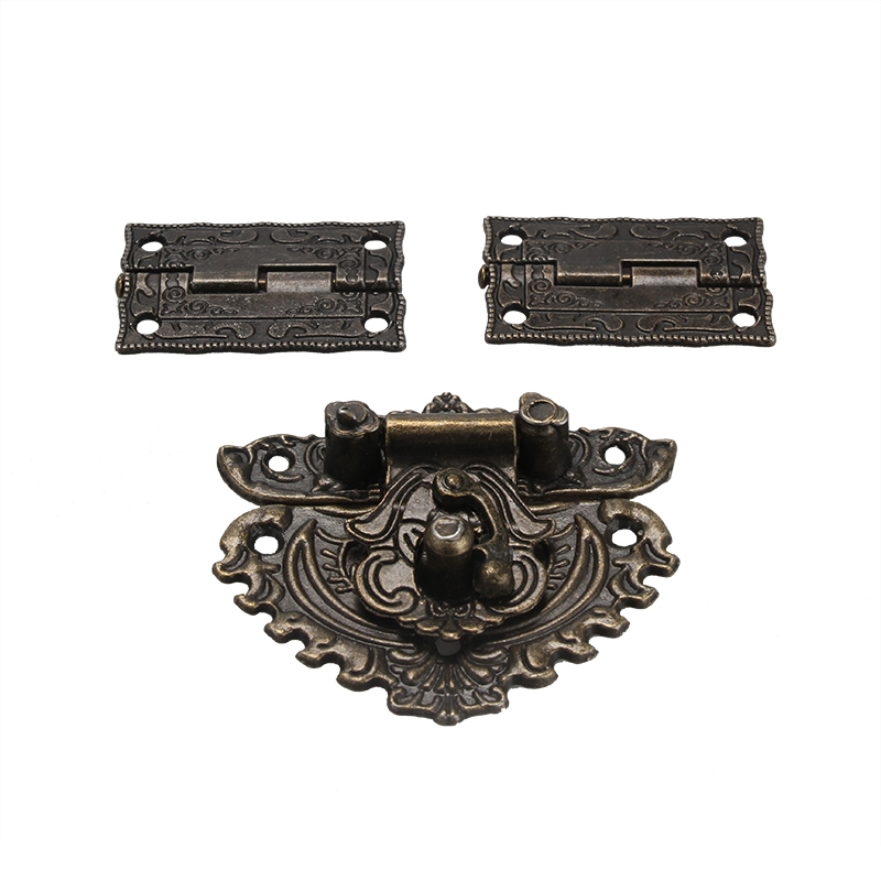 Furniture Hardware Latch Hasp Toggle Buckle+ 2Pcs Decorative Cabinet Hinges for Jewelry Wooden Box Pakistan