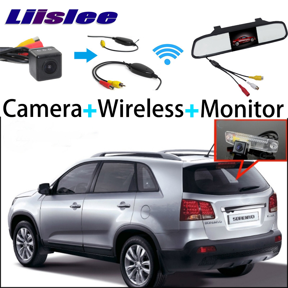 Mirror Monitor Easy DIY Back Up Parking System + 3 in1 Special Rear View Camera + Wireless Receiver For KIA Sorento 2009~2010 3 in1 special rear view camera wireless receiver mirror monitor back up parking system for honda jazz 5d 2002 2013