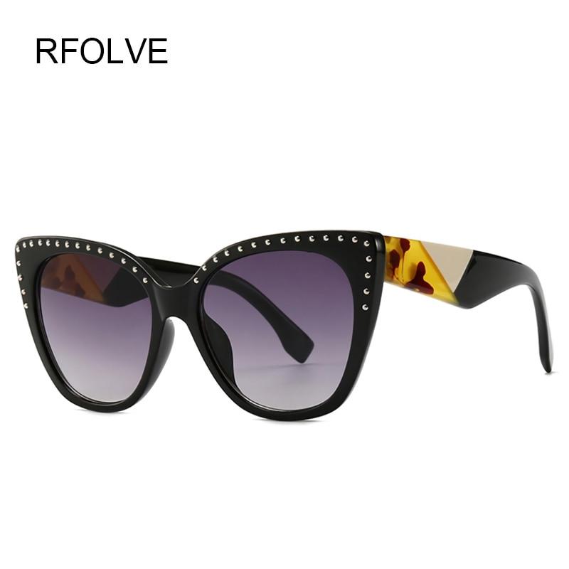 RFOLVE Fashion Sexy Cat Eye Sunglasses Women Brand Rivet Frame Vintage Sun Glasses Travel UV400 Goggles Ladies Shades Gafas R169