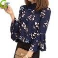 Das mulheres novas blusas de impressão floral chiffon blusa mulheres tops de gola alta senhoras do vintage trabalho longo flare manga roupas blusas femi