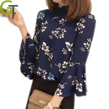 New Women's Floral Print Blouses Chiffon Blouse Women Vintage Turtleneck Tops Ladies Work Long Flare Sleeve Clothing Blusas Femi