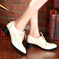 Size 34-43 Square Med Heel Women Pumps Spring Autumn Soft Leather Shoes Ladies British Style  Lace Up Pointed Toe Casual Shoes